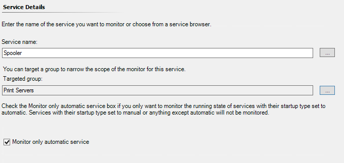 service details filled out